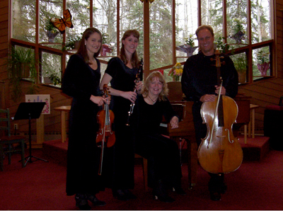 Andrew Cook, cellist, with Emily Grossman, violinist, Tammy Vollom-Matturro, clarinetist, and Maria Allison, pianist, at the Christ Lutheran Church, April 2006